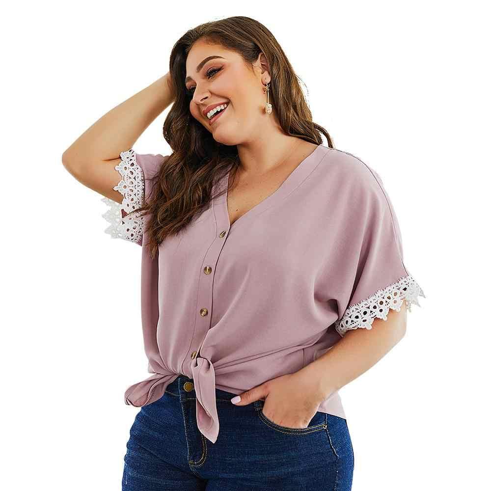 Lato Plus rozmiar 3XL 4XL kobiety Patchwork koronki z długim rękawem, dekolt w serek, na co dzień, Femme zasznurować łuk przycisk luźne Vadim koszula kobiety
