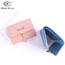 Qianxilu Women Wallet Small Cute Leaves Short Leather Wallets Zipper Purses Portefeuille Female Purse Clutch