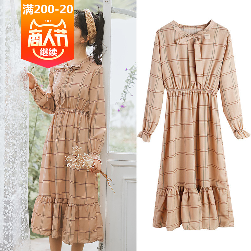 <font><b>3601</b></font> #2019 Spring WOMEN'S Dress New Style Korean-style Plaid Dress Flounced Long Sleeve French fu gu qun Yamamoto image
