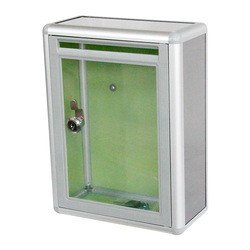 Creativa-acrílica pequeña caja de sugerencias transparente caja de sugerencias Bloqueo de pared aleación de aluminio bian min xiang caja de donación