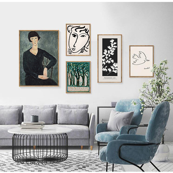 Famous Classic Amedeo Modigliani Picasso Artwork Collection Sketch Canvas Print Painting Poster Wall Pictures Living Room Decor image