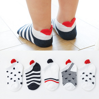 5Pairs/lot 0-2Y Cute Lovely Short Baby Socks Red Heart for Girls Cotton Mesh Cute Newborn Boy Toddler White Sock 1