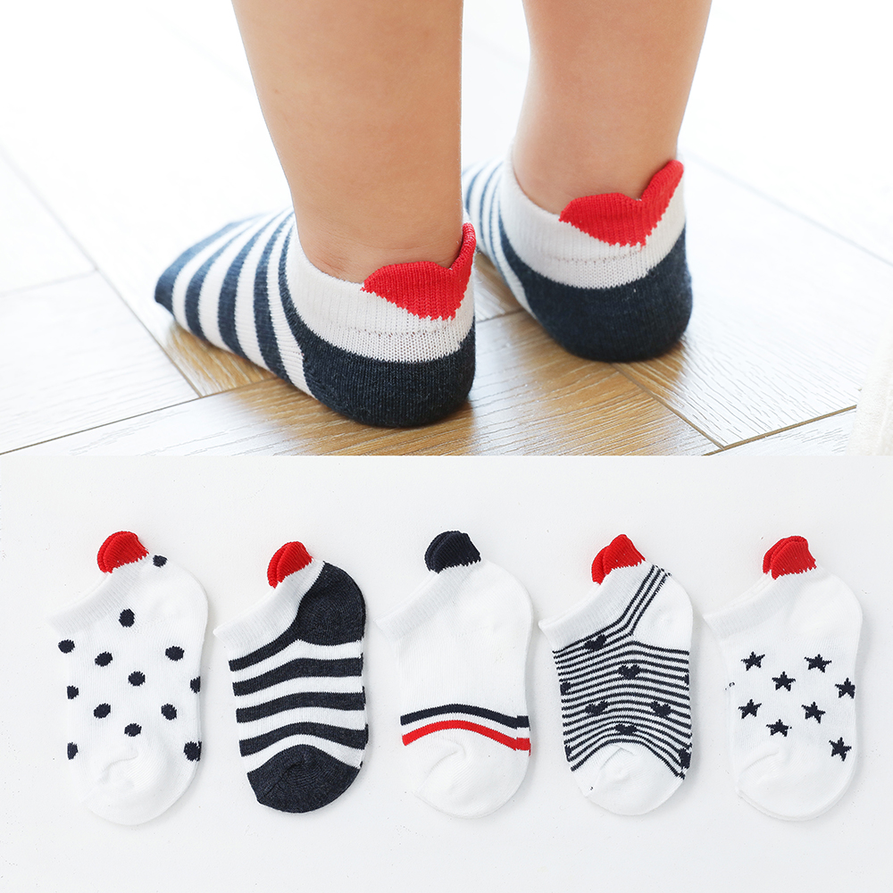 5Pairs/lot 0-2Y Cute Lovely Short Baby Socks Red Heart for Girls Cotton Mesh Cute Newborn Boy Toddler White Sock