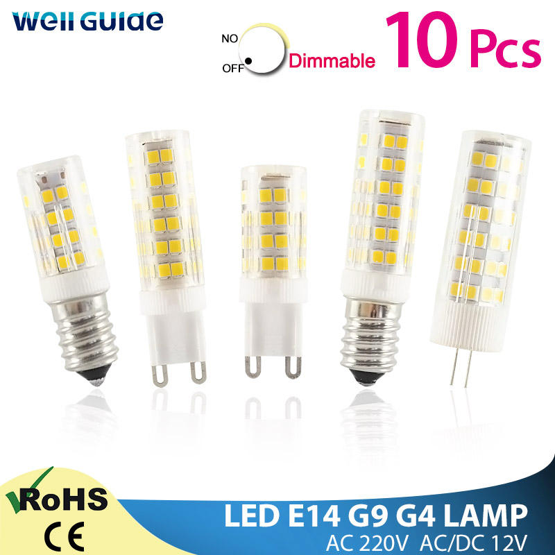 10pcs LED G4 G9 Lamp E14 LED Bulb COB 7W 9W 10W 12W 220V AC12V SMD 2835 LED No Flicker Dimmable Ceramic Replace halogen lamp