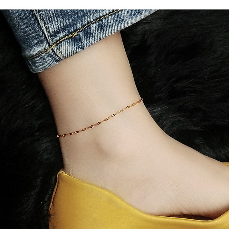 Gold plated stainless steel fishbill chain ankle bracelet foot anklet fashion jewelry, simple anklets for women accessories