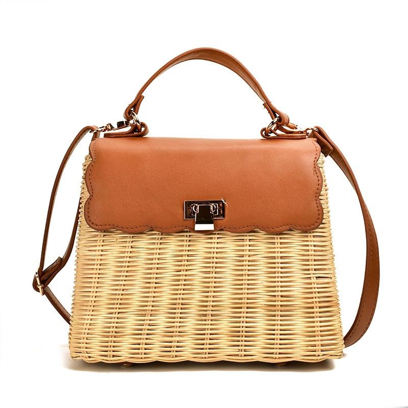New Leather Straw Woven Patchwork Tote Bags Handmade woven rattan handbag Women Shoulder Bags Vintage Crossbody Bag