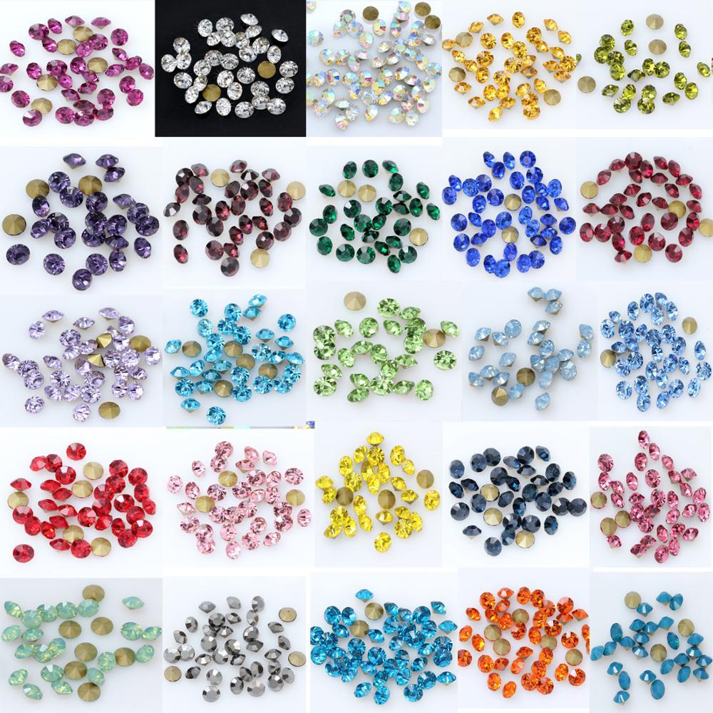 1440P SS2/3/4/5/6/8 круглый граненый конус Cz Кристалл 36 цветов заостренный задний бриллиант для 3D дизайна ногтей свадебное платье ремонт ювелирные ...
