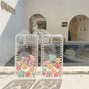 Image 2 - Liquid Quicksand Sliding flowers Phone case For iphone 12 11 pro max 12mini XS MAX X XR 7 8 6S 6 Plus SE2 transparent cover Case