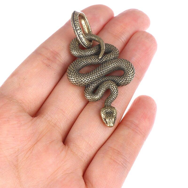 1pc Handmade Key Chain Brass Metal Snake Shape Keychain Fashion Animal Key Ring HandBag Pendant