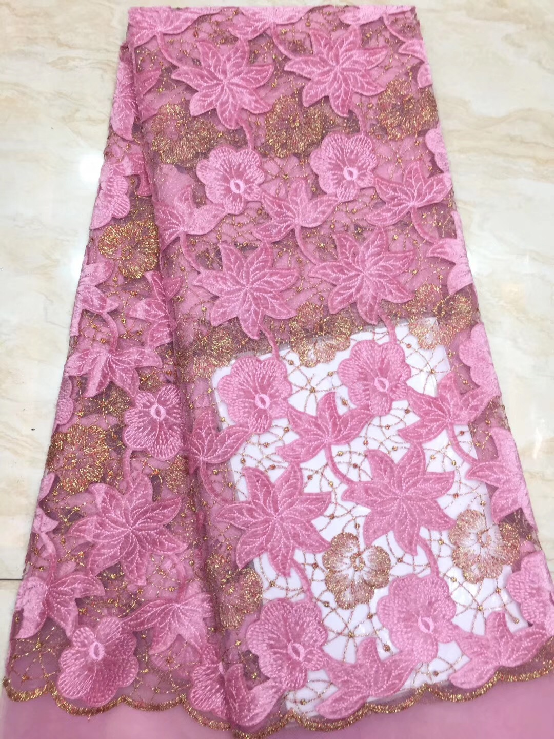 Pink Lace Fabric Gold Thread Embroidered Mesh Fabric 2020 Home Furnishing Apparel Dress Supply For Women Dress Party Wedding
