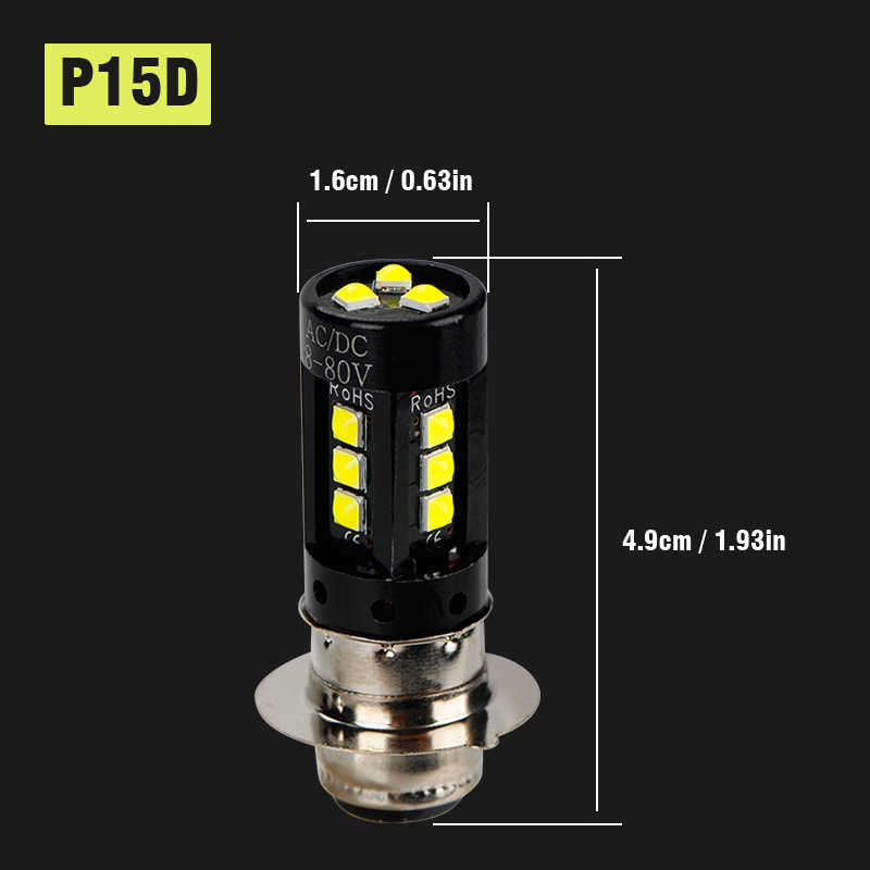 2 sztuk żarówka LED P15D dla reflektor motocyklowy światło Super jasna biała lampa przednia do motocykla żarówka 15W Moto Accessorie 12V 24V