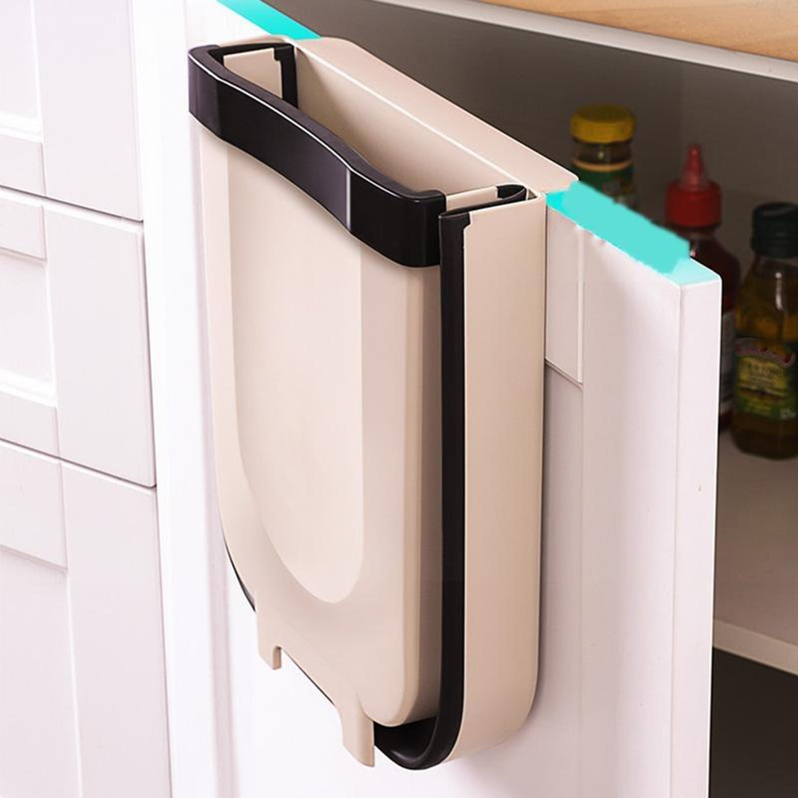 Wall Hanging Trash Can Wastebasket Folding Recycling Bin Kitchen Cabinet 10L