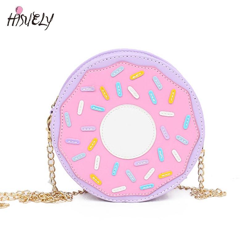 2019 New Arrival Funny Fashion Three-dimensional Donuts Style Messenger Bag Chain Soft Small Harajuku Handbag Hot Cute Cartoon