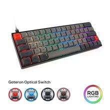 Механическая клавиатура SK64, проводной оптический переключатель Gateron, RGB подсветка, PBT краска-Sub, игровой водонепроницаемый макропрограммато...