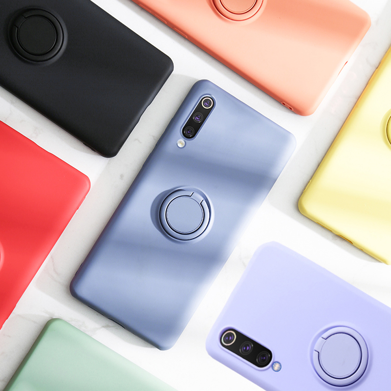 LOVECOM Solid Color Shockproof Phone Case With Ring Holder For <font><b>Xiaomi</b></font> <font><b>Mi</b></font> 8 <font><b>Mi</b></font> 9T Pro <font><b>Mi</b></font> 10 Pro Case Soft Silicone Phone <font><b>Cover</b></font> image