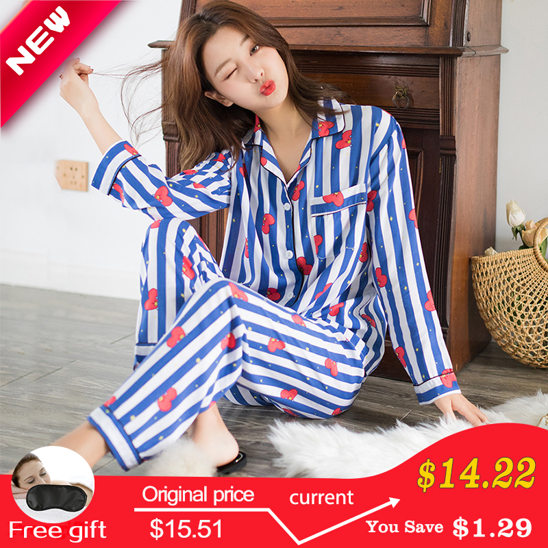 New Cartoon Sleepwear Heart Stripe Print   Pajamas     Sets   Women Harajuku   pajamas   Men Women long sleeve shirt nighty Nightwear   Set