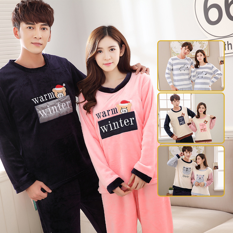 Flannel Lovers Pajamas Long Sleeves Cute Thick Autumn  Winter Home Service Men Women Warm Pajamas Set Plus Size Sleepware