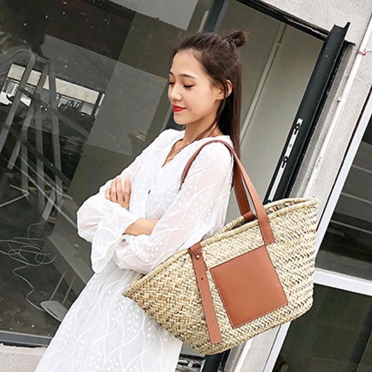 Image 4 - Beach Rattan Bag Women New Elegant Straw Bag Bolsos Mujer De Marca Famosa 2019 Bolso Paja Bolso Playa Designe Luxury Handbags-in Shoulder Bags from Luggage & Bags