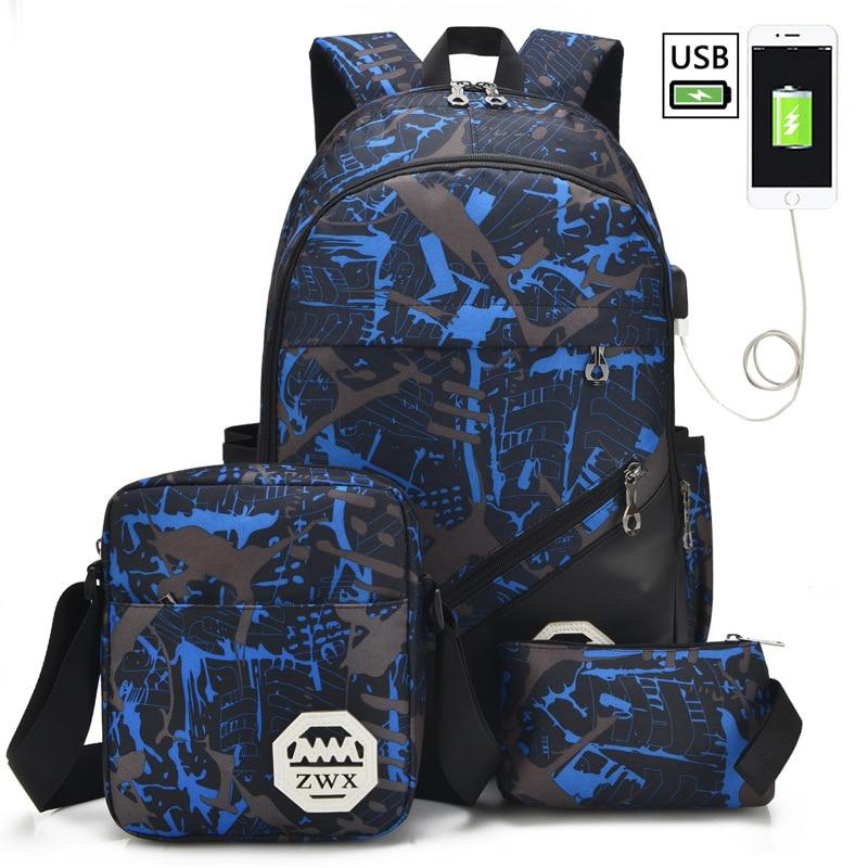 2018 New 3Pcs/Set USB Charging Printing Women Backpack Fashion Letter Bookbag Men Travel Bag For Teenager Boys Girls Schoolbag
