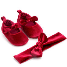 Baby Girl Butterfly-knot Fashion Toddler First Walkers Kid Shoes+1pc Hairband Anti-slip Cotton Soft Solid Slip-on Children Shoes(China)