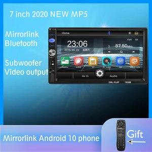 """Image 1 - 2 din Autoradio miroir lien Android 9.0 écran tactile affichage numérique 7 """"HD lecteur MP5 Bluetooth multimédia USB 2din Autoradio"""