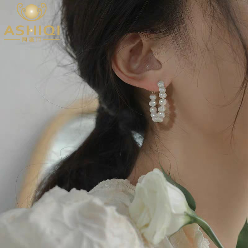 ASHIQI Natural Freshwater Pearl Baroque Circle Hoop Earrings 925 Sterling Silver fashion Korean Jewelry for women 2020 trendy