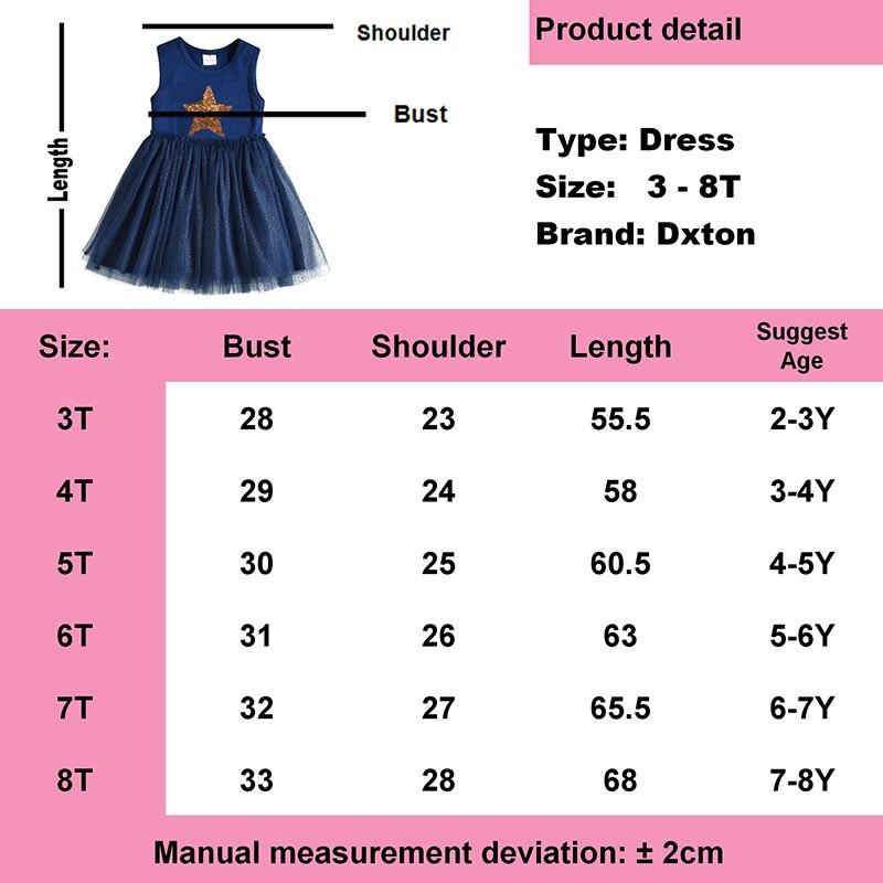 DXTON Girls Summer Dress Star Sequined Girls Tutu Dresses Kids Cartoon Princess Dress Children Costumes for Kids Cotton Clothes 6
