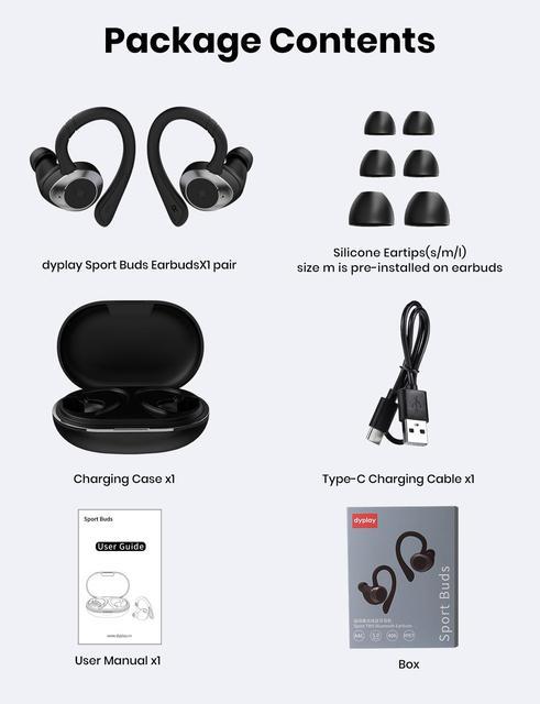 TWS In-Ear Earbuds Wireless Bluetooth 5.0 Earphones Sport Buds Headphones 3D Stereo Sound with Mic Running Waterproof IPX7 6