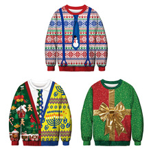 2019 New Arrival Christmas Digital Printing Sleeve Round Neck Top Casual Loose Polyester Womens Hoodies & Sweatshirts