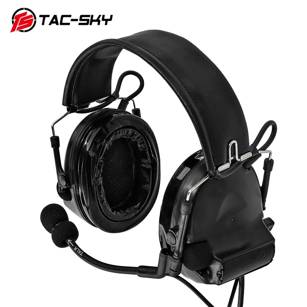 TAC-SKY COMTAC II Silicone Earmuffs Hearing Defense Noise Reduction Pickup Military Shooting Tactical Headset BK