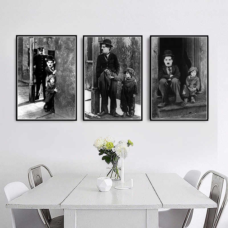 Painting Retro The Kid Charlie Chaplin Funny Actor Movie Poster And Prints Art Wall Art Wall Pictures For Living Room Home Decor
