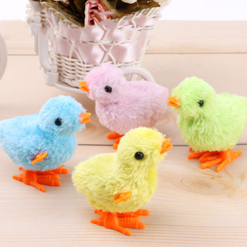 5 Pcs/set Creative Wind Up Plush Chicken Funny Small Bird Toy Jumping Walking Clockwork Chick for Kids Baby Girl Boy Toys Gift