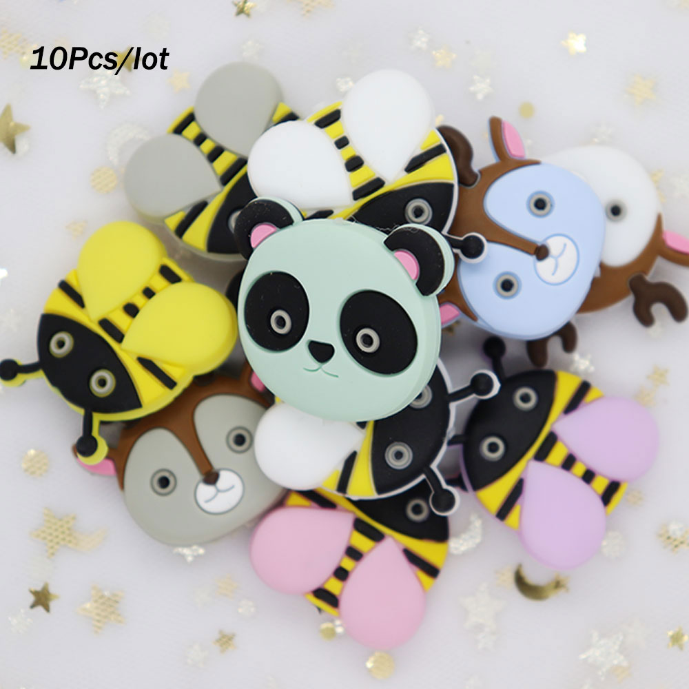 10Pcs Bee Deer Fox Panda Perle Silicone Loose Beads Baby Siliconen Kralen Bead For Jewelry Making DIY Necklace Teething Baby Toy
