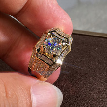 14K or 3 Carats Bague en Diamant pour hommes Rock 14k bijoux en or Anillo Esmaltado argent 925 bijoux Bague Diamant Bizuteria anneaux