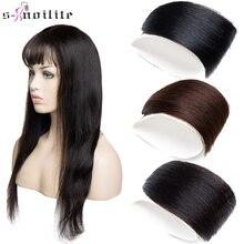 S-noilite 4 г воздух челка зажим в бахрома человек волосы наращивание тонкий невидимый парик человеческий натуральный черный коричневый женский поддельный шиньон