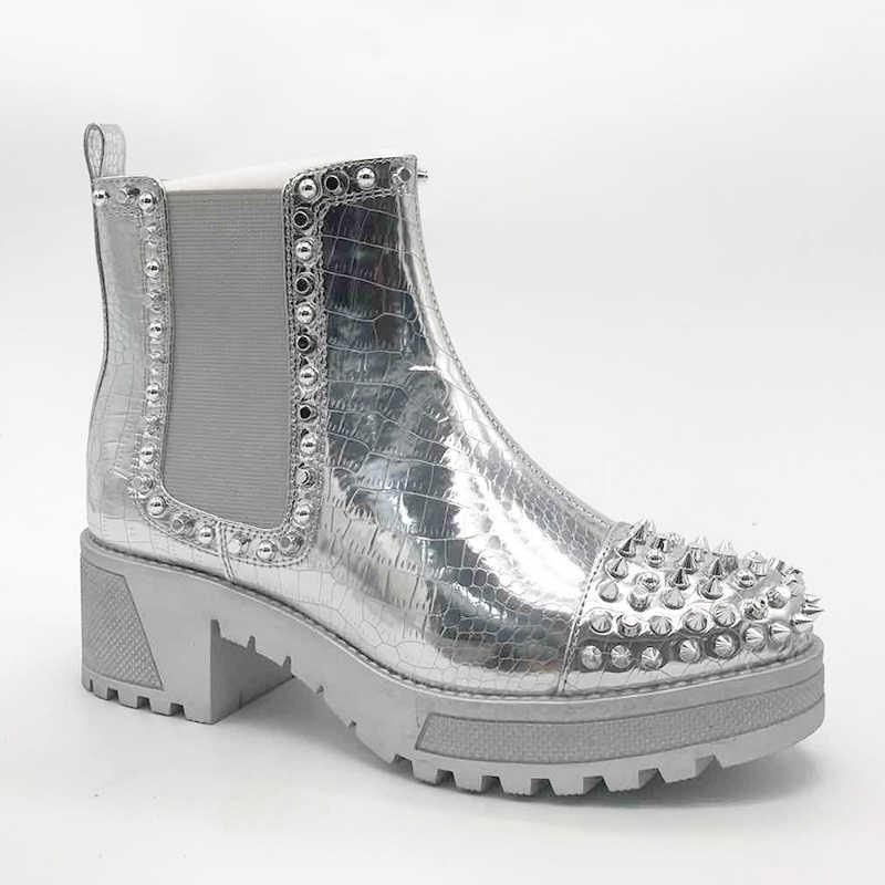 [[GOGD] Mùa Xuân Nữ Dây Kéo Đinh Tán Mắt Cá Chân Giày Có Trang Trí Kim Loại Mũi Tròn Nữ Punk Giày