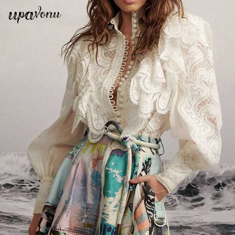 Patchwork Lace Hollow Out Vrouwen Tops 2020 Fashion Blouses Vintage Stand Kraag Lantaarn Lange Mouw Enkele Breasted Ruches Shirt