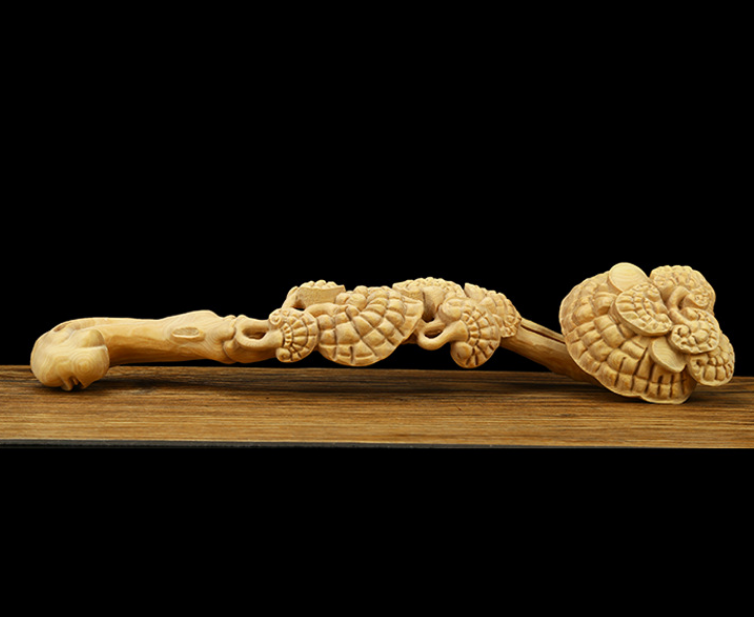 Chinese Exquisite Hand-carved flower Carving Boxwood Ruyi statue