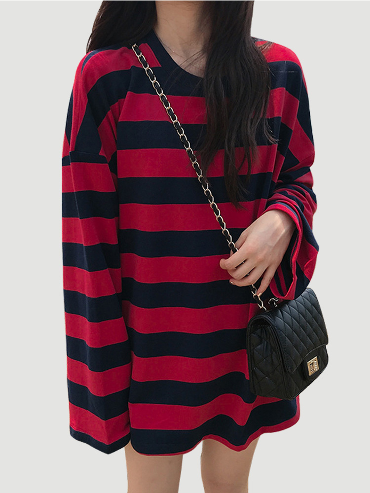 harajuku Striped patchwork t shirt spring casual oversized long sleeve O-neck  t-shirts female fashion student red top t-shirt