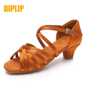 DIPLIP Dance-Shoes Ballroom Women Salsa Mid-Heel Latin Tango Girl for Soft