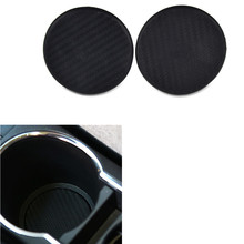 H2CNC 2Pcs Car mats gadgets Carbon Fiber Look Car Auto Water Cup Slot