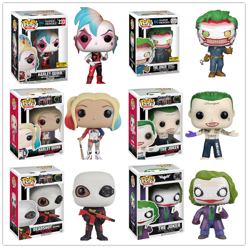 Funko POP Suicide Squad The Joker Harley Quinn Deadshot Model Figure Collection Model Toy Gifts