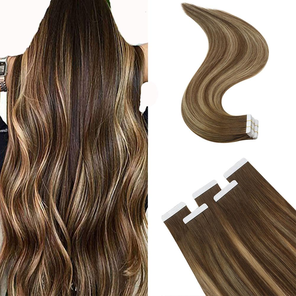 Full Shine Straight Human Hair Tape In Virgin Remy Human Hair Extensions Ombre Blonde Color Skin Weft 9A Grade Adhesive Tape