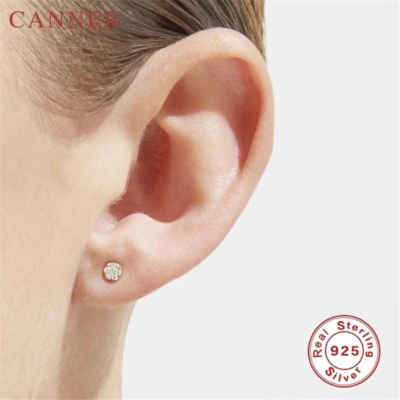 Minimalist Cute Zircon 925 Sterling Silver Stud Earrings for Women Simple Personality Geometric Studs Earings Fashion Jewelry