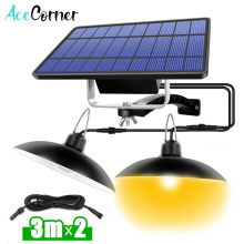 Acecorner Single Double Head Solar Pendant Light Outdoor Indoor Lamp Line Warm White White Lighting for Camping Home Garden Yard