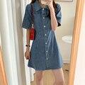 Платье женское джинсовое с коротким рукавом, нежное элегантное дизайнерское модное платье в европейском и американском стиле, весна-лето
