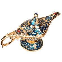 Azul Metal tallado retro lámpara Genie Vintage hogar té aceite bote Arte Árabe