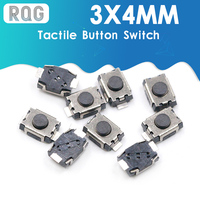 50 Uds SMD 2Pin 3X4MM tactil botón pulsador Micro interruptor momentáneo