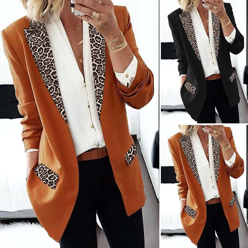 ZANZEA 2020 Fashion Patchwork Leopard Blazers Women Casual Lapel Neck Blazers Thicken Long Sleeve Coat Jackets Outwear Plus Size