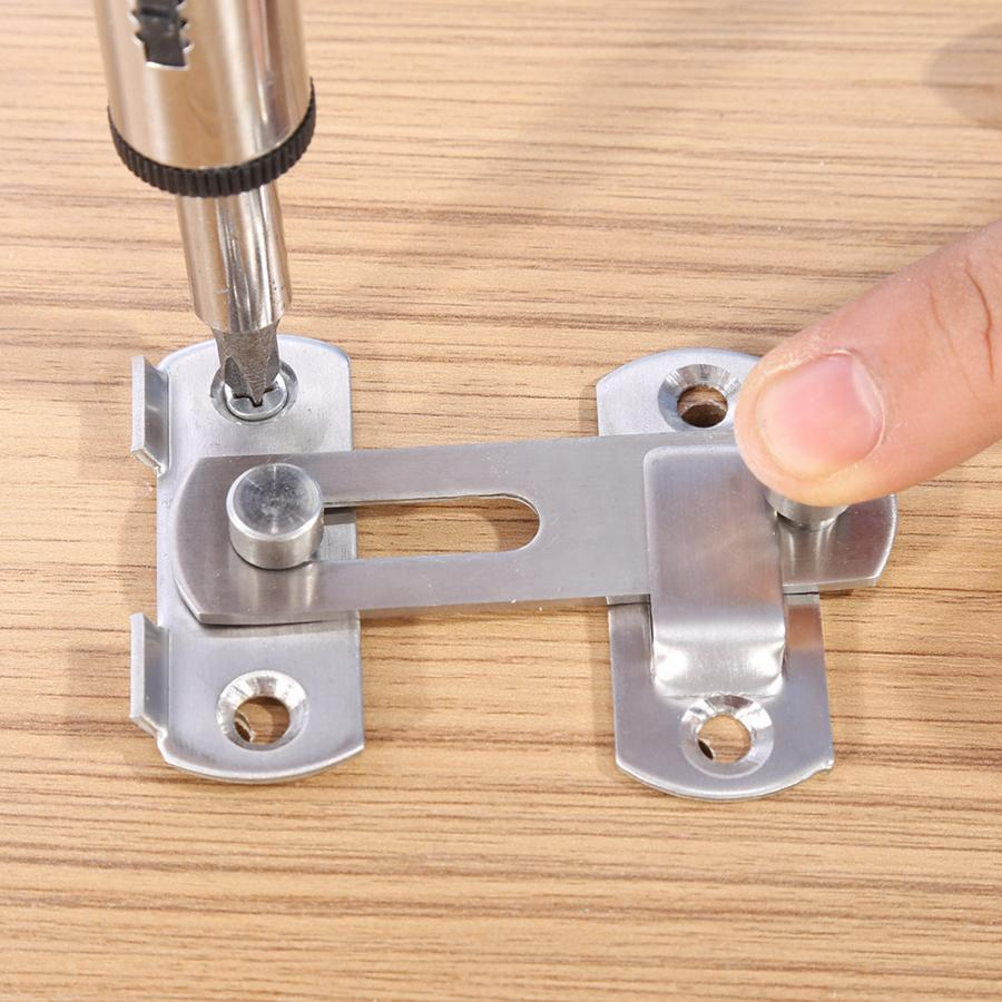 90 Degree Stainless Steel Hasp Latch Lock Sliding Door Chain Locks Security Tools Hardware For Window Cabinet Hotel Home